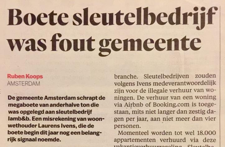 boete airbnb verhuur gemeente Amsterdam ingetrokken na bezwaar