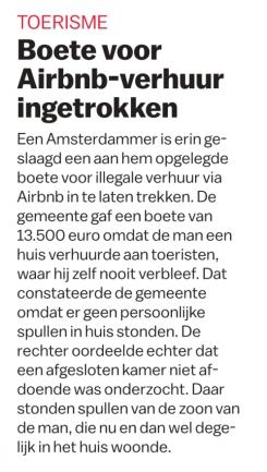 Parool boete airbnb door rechter vernietigd