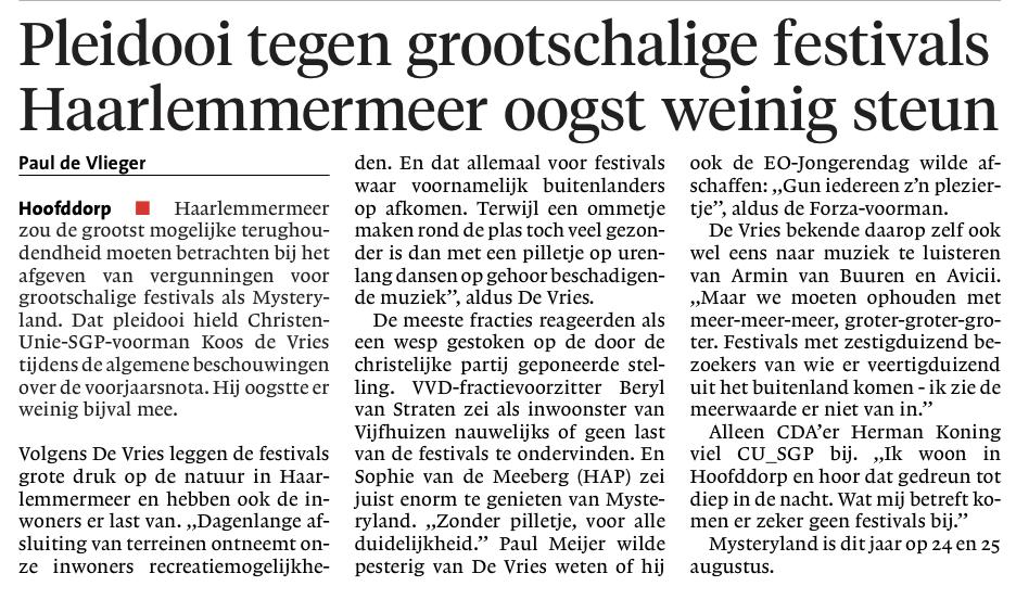 Evenement organiseren in Haarlemmermeer